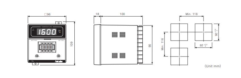 ابعاد ترموستات آتونیکس T4L-B3RK4C