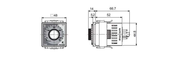 ابعاد ترموستات آتونیکس TAS-B4RK4C