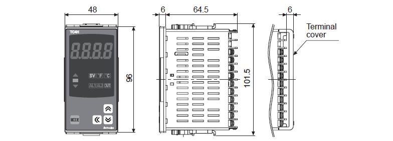 ابعاد ترموستات آتونیکس TCN4H-22R