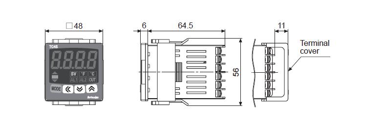 ابعاد ترموستات آتونیکس TC4S-12R