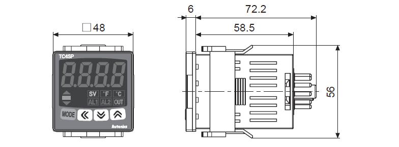 ابعاد ترموستات آتونیکس TC4SP-14R