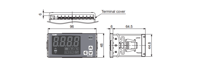ابعاد ترموستات آتونیکس TC4W-22R