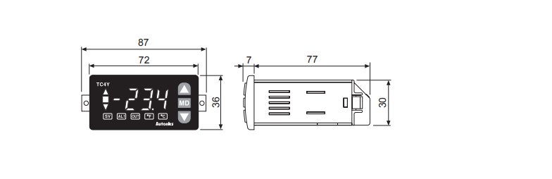 ابعاد ترموستات آتونیکس TC4Y-12R