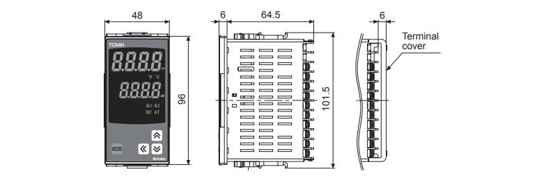 ابعاد ترموستات آتونیکس TCN4H-24R