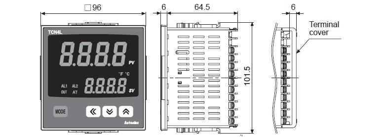 ابعاد ترموستات آتونیکس TCN4L-22R
