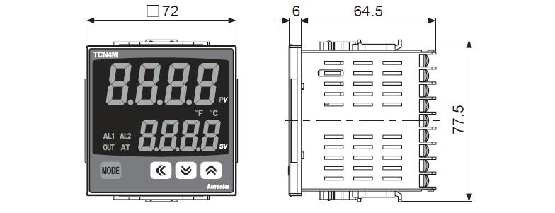 ابعاد ترموستات آتونیکس TCN4M-24R