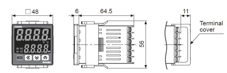 ابعاد ترموستات آتونیکس TCN4S-24R