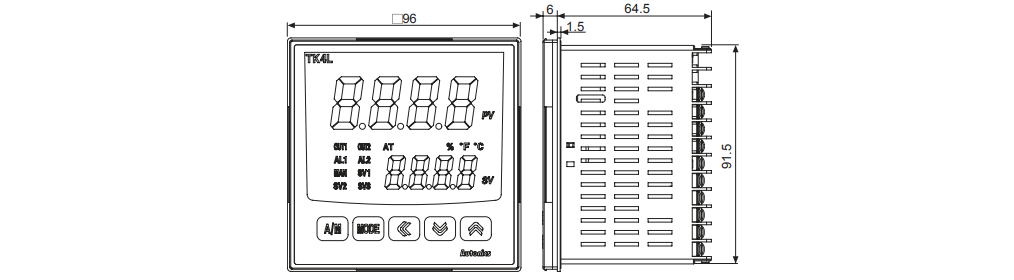 ابعاد ترموستات آتونیکس TK4L-A4RC
