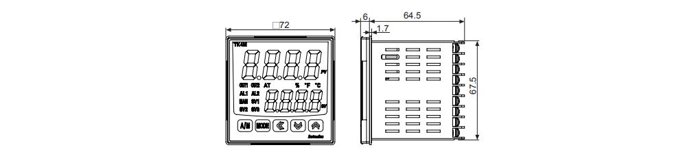 ابعاد ترموستات آتونیکس TK4M-14RN