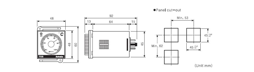 ابعاد ترموستات آتونیکس TOS-B4RK4C