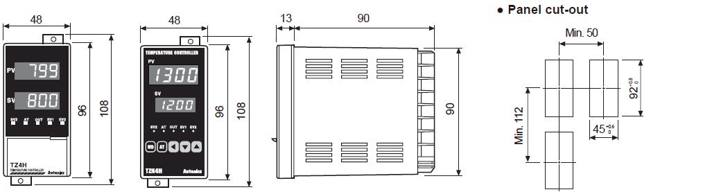 ابعاد ترموستات آتونیکس TZ4H-A4R