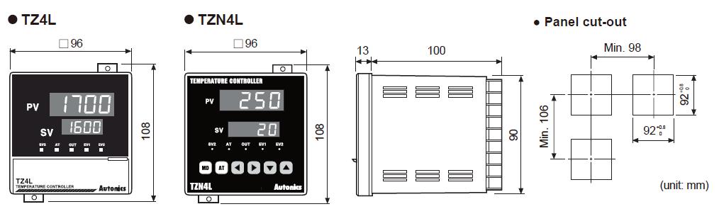 ابعاد ترموستات آتونیکس TZ4L-A4R