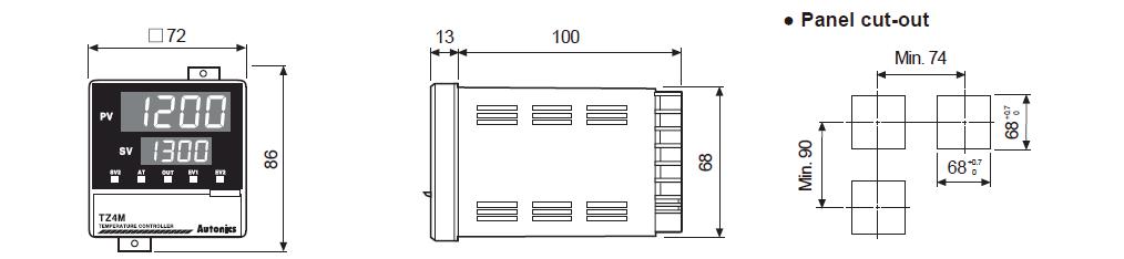 ابعاد ترموستات آتونیکس TZ4M-A4R