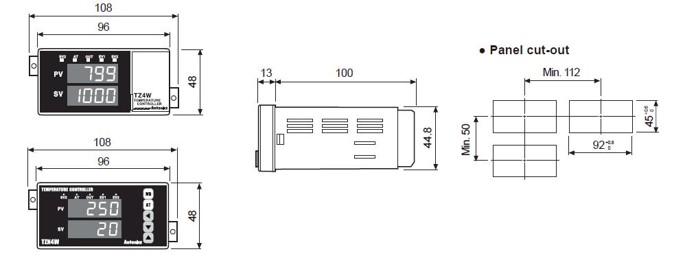 ابعاد ترموستات آتونیکس TZ4W-A4R