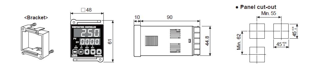 ابعاد ترموستات آتونیکس TZN4S-14R