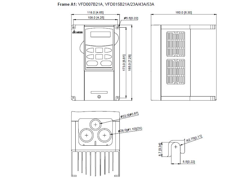 ابعاد اینورتر دلتا مدل VFD007B21