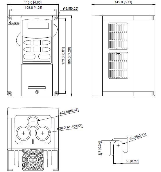 ابعاد اینورتر دلتا مدل  VFD022B43