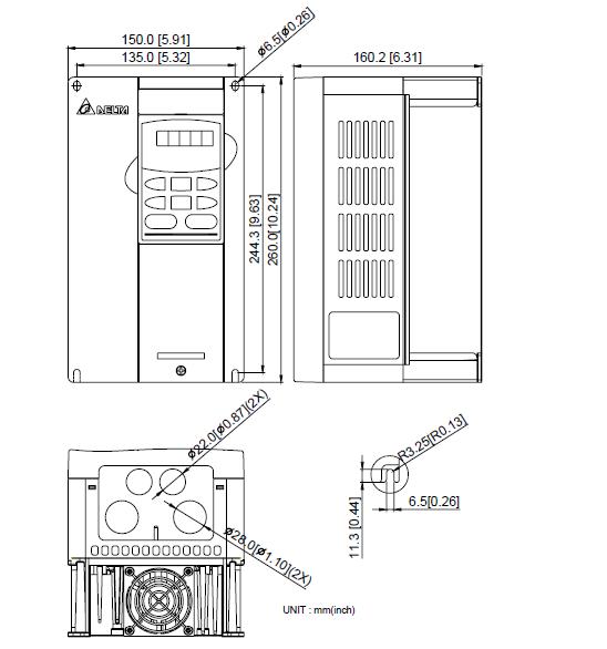 ابعاد اینورتر دلتا مدل VFD037B43