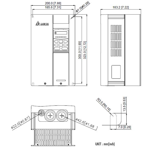 ابعاد اینورتر دلتا مدل VFD110B43