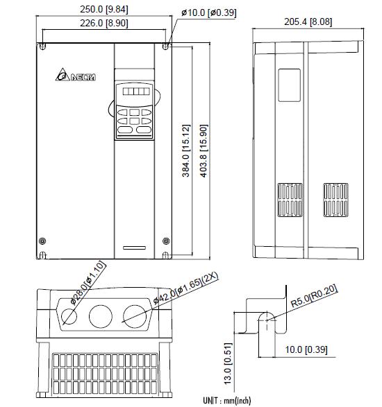 ابعاد اینورتر دلتا مدل VFD185B43