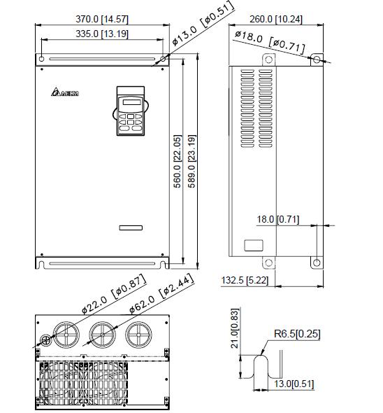 ابعاد اینورتر دلتا مدل VFD370B43