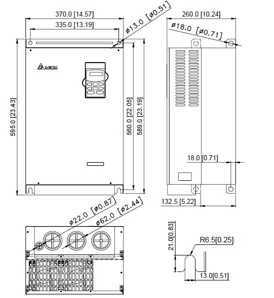 ابعاد اینورتر دلتا مدل VFD550B43