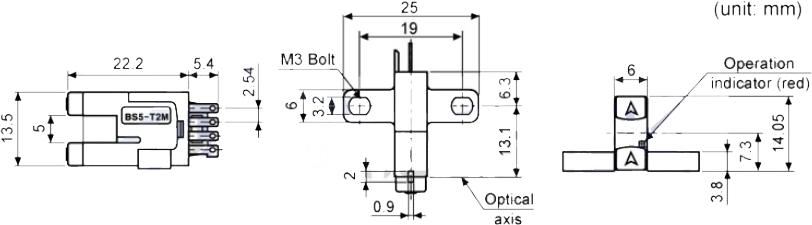 ابعاد سنسور نوری آتونیکس BS5-T2M