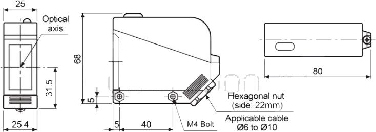 ابعاد چشم الکترونیک آتونیکس  BX5M-TFR-T