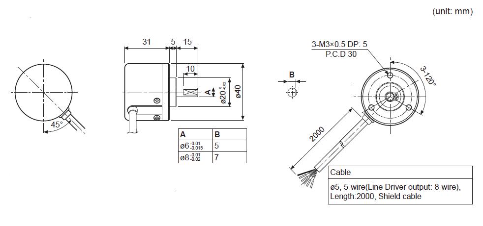 ابعاد انکودر آتونیکس E40S6-1000-6-L-5
