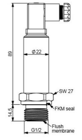 ابعاد سنسور فشار هاگلر سری HOF