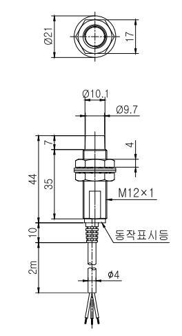 ابعاد سنسور القایی کوینو ipx-d12-05e-n