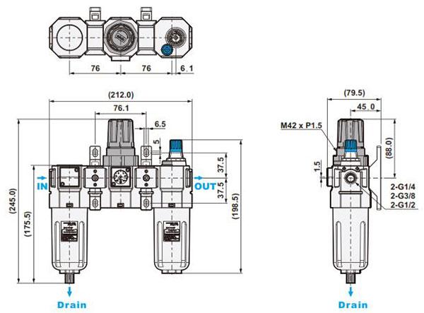 ابعاد واحد مراقبت شاکو مدل NUFRL-02,03,04