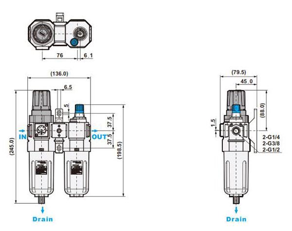 ابعاد واحد مراقبت شاکو مدل NUFR/L-02,03,04