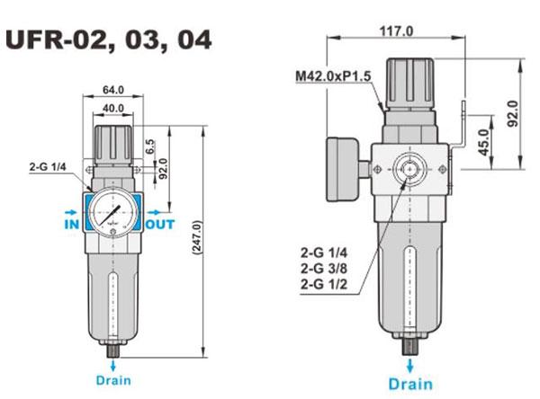 ابعاد فیلتر-رگلاتور شاکو سری UFR در سایز های 1/4، 3/8، 1/2 اینچ