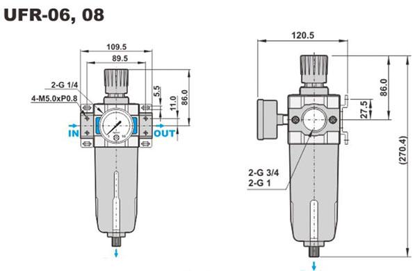 ابعاد فیلتر-رگلاتور شاکو سری UFR در سایز های 3/4 و 1 اینچ