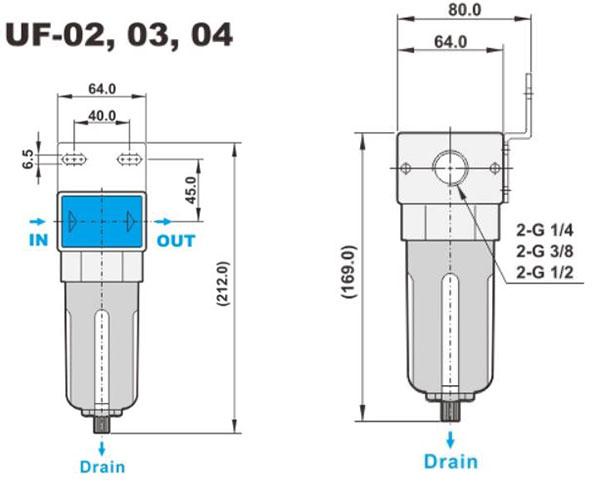 ابعاد فیلتر پنوماتیک (رطوبت گیر) شاکو سری UF در سایز های 1/4، 3/8، 1/2 اینچ
