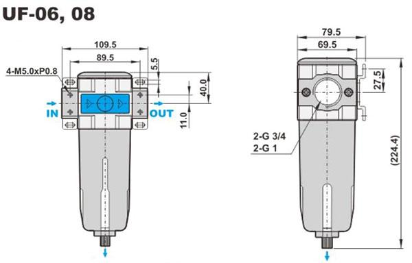 ابعاد فیلتر پنوماتیک (رطوبت گیر) شاکو سری UF در سایز های 3/4 و 1 اینچ