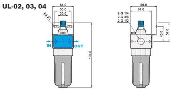 ابعاد روغن زن پنوماتیک شاکو سری UL در سایز های 1/4 و 3/8 و 1/2 اینچ