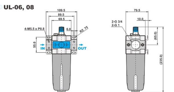 ابعاد روغن زن پنوماتیک شاکو سری UL در سایز های 3/4 و 1 اینچ