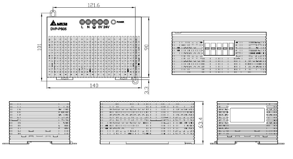 ابعاد منبع تغذیه سوئیچینگ 5 آمپر 24 ولت دلتا