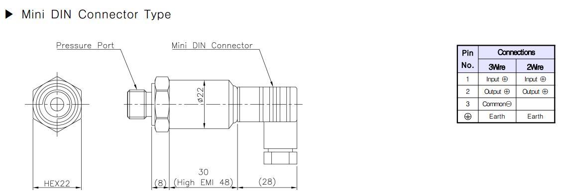 ابعاد سنسور فشار سنسیس سری PFA